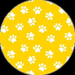 Paw Print Seamless Pattern Yellow Sticker