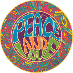 Peace And Love Hippie Circle Sticker