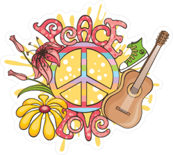 Peace and Love Hippie Sticker