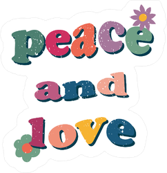 Peace And Love Hippie Wavy Sticker