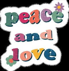 Peace And Love Hippie Wavy Sticker