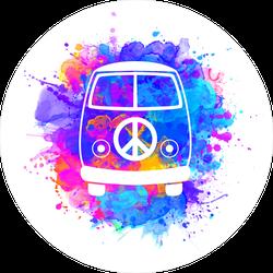 Peace and Love Watercolor Hippie Van Splatter Sticker