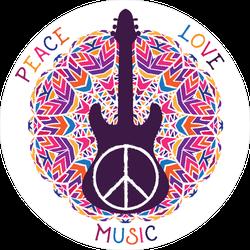 Peace Love Music Hippie Circle Sticker