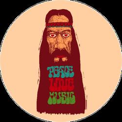 Peace Love Music Long Bearded Hippie Sticker