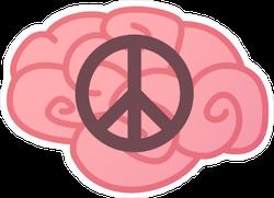Peace Sign Brain Sticker