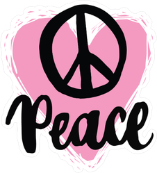 Peace Sign Pink Heart Sticker