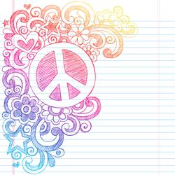 Peace Sign School Notebook Sketch Sticker