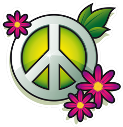 Peace Sign With Pink Flowers Sticker