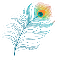 Peacock Plume Colorful Feather Illustration Sticker