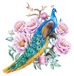 Peacock With Peonies Flowers Beautiful Illustration Sticker