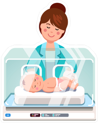 Pediatrician Examining Newborn Sticker