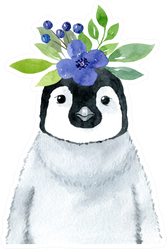 Penguin With Blue Flowers Wreath- Watercolor Illustration Sticker