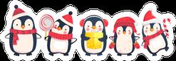 Penguins Standing In A Line Christmas Cartoon Sticker