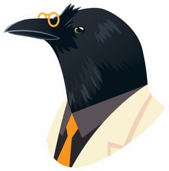 People Art Animal, Crow With Glasses Dressed In Suit Sticker