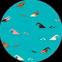People Swimming Pattern Sticker