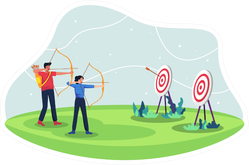 People With Bow Archery And Target Illustration Sticker