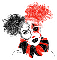 Perfect Makeup Look For Halloween Party Scary Clown Girl Sticker