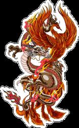Phoenix Fire Bird With Old Dragon Sticker