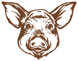 Pig Head Line Art Ink Sketch Sticker