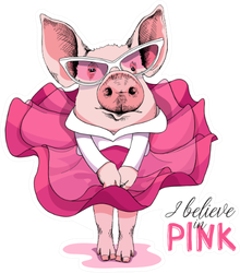 Pig In A Pink Dress And In A Sunglasses Sticker