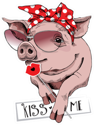 Pig In A Sunglasses And In A Red Polka Dot Headband Sticker