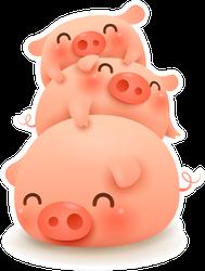 Pig Pile. Three Little Pig. Sticker