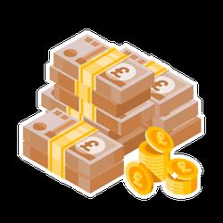 Pile of English Money Sticker