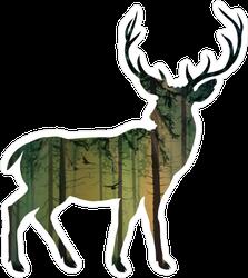 Pine Forest Deer Silhouette Sticker