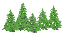 Pine Trees Grouped Sticker