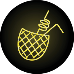Pineapple Cocktail Neon Icon Sticker