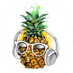 Pineapple Fruit In A Glasses With Headphones Sticker