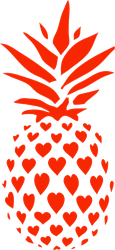 Pineapple Made From Red Hearts Sticker