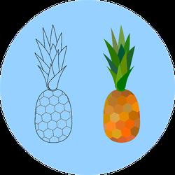 Pineapple On Blue Sticker