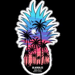 Pineapple Sunrise Hawaii Beach Illustration Sticker