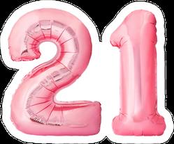 Pink 21 Balloon Sticker