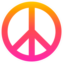 Pink and Orange Peace Sign Sticker