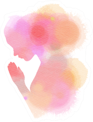 Pink And Orange Watercolor Of A Girl Praying Sticker