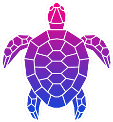 Pink and Purple Turtle Sticker