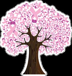Pink Breast Cancer Ribbon Tree Sticker