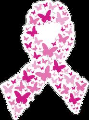 Pink Butterflies Breast Cancer Ribbon Sticker