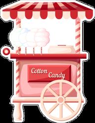 Pink Cotton Candy Cart Sticker