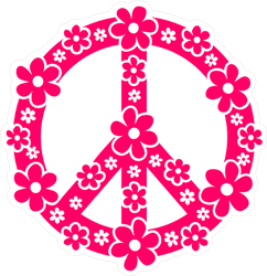 Pink Daisy Peace Sign Sticker