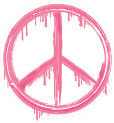Pink Dripping Peace Sign Sticker