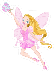 Pink Fairy and Butterfly Sticker