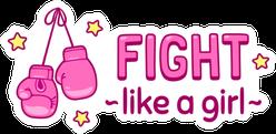 Pink Fight Like A Girl Cute Cartoon Lettering Sticker