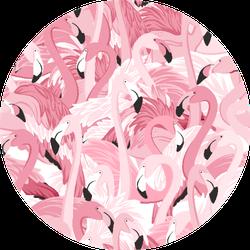 Pink Flamingos Seamless Pattern Overlap Sticker