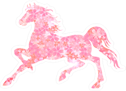 Pink Flower Horse Sticker