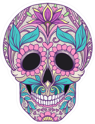Pink Flower Sugar Skull Sticker