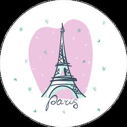 Pink Heart Eiffel Tower Sticker