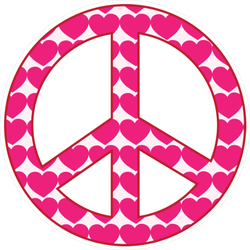 Pink Heart Peace Sign Sticker